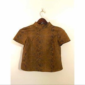 Snake skin Zara cropped blouse
